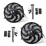 MOSTPLUS Black Universal Electric Radiator Slim Fan Push/Pull 12V + Mounting Kit (14 Inch) Set of 2