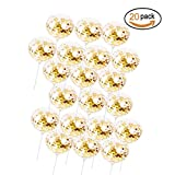 Polka Dot Gold Confetti Balloons, POPGRAT Wedding Balloons with Gold Round Paper Dot Birthday Party Decorations Supplies, 12'' (20)