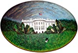 Beaded WHITE HOUSE portrait art large painting 24 x 36 oval canvas (Ready to Ship) (e) (s)
