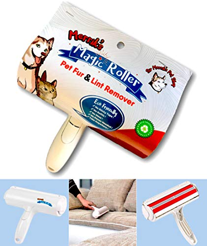Merriks Magic Lint Roller Pet Fur Remover. Dog Hair, Cat Hair, Pet Hair Remover. Best Roller in The World! Remove Pet Hair from Furniture, Carpets, Bedding and - Vacume Roller