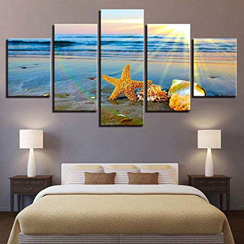 LLHLLH Home Decor 5 Shells Starfish Wall Art Canvas Painting Sunrise Landscape Modular Picture Art Landscape Poster