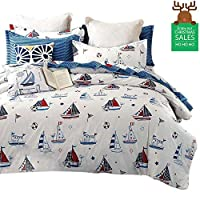 FenDie Reversible Bedding Set Boys Girls Duvet Cover Set with 2 Pillow Cases, Cotton Printed Quilt Duvet Cover Twin/Queen Bedding Collections 3 Piece with Zipper Closure and Corner Ties