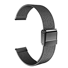 """18mm Watch Band, MoKo Mesh Stainless Steel Bracelet Replacement Strap for Huawei Watch 1st/Fit Honor S1, Asus Zenwatch 2 1.45"""", Withings Activite Pop/Pulse Ox, Nokia Withings Steel HR 36mm, Black"""