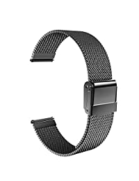 Universal 22mm Quick Release Watch Band, MoKo Mesh Stainless Steel Band Strap for Amazfit/Samsung Gear S3 Frontier/S3 Classic/Motorola Moto 360 2nd Gen 46mm/Garmin Vivomove/Huawei 2 Classic, Black