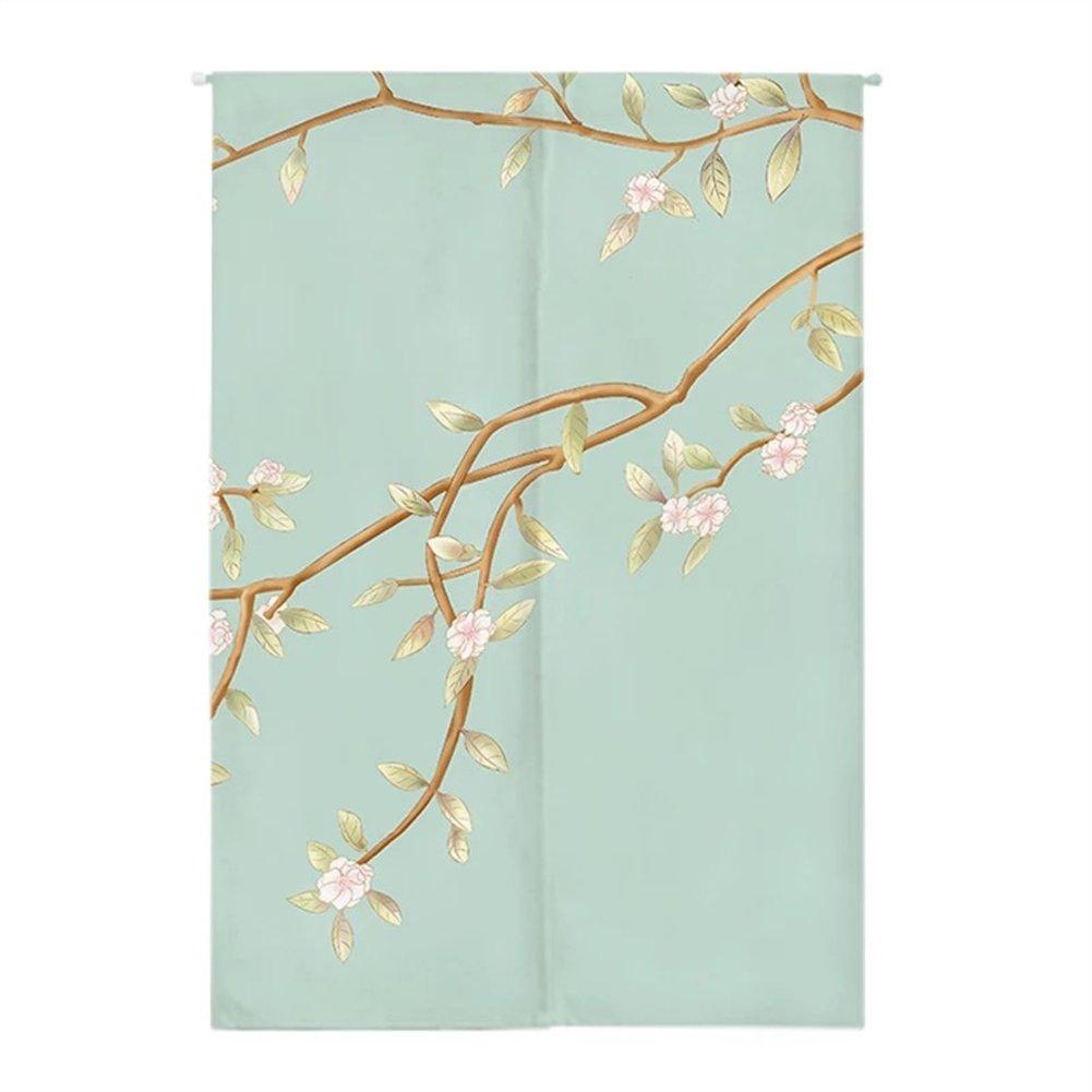 Insun Rideau De Porte Noren Japonais Panneau Tenture de Porte Rideaux Tapisserie Décoration avec Tige de Tension Branche de Fleurs 65cm X 90cm