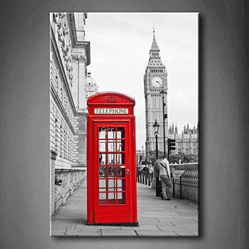 First Wall Art - Black And White & Red Red Telephone Booth A