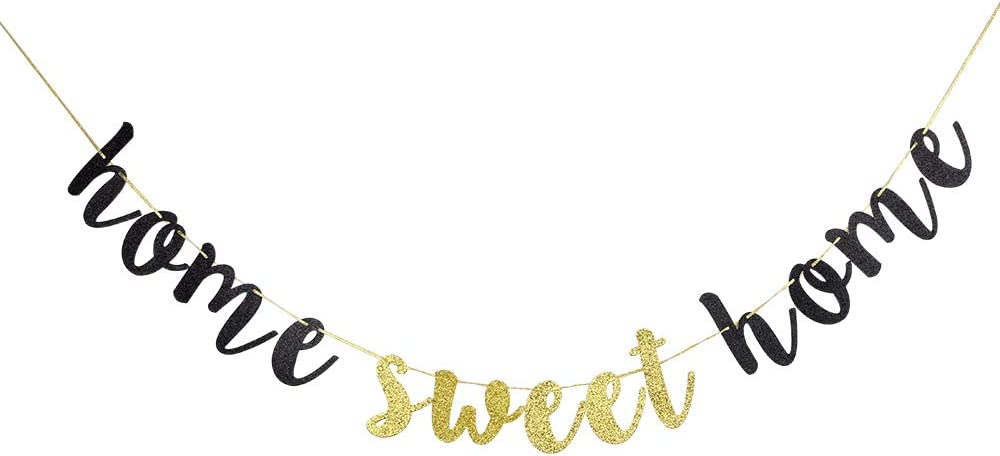 Home Sweet Home Black Glitter Banner - Welcome Home Sign for Housewarming Military Family Party Decorations