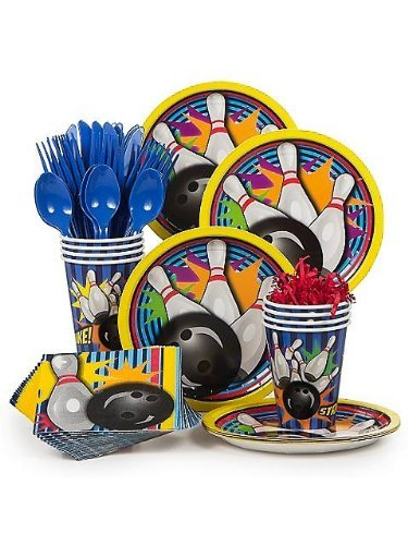 Bowling Party Supply Standard Kit (Serves 8) - Includes 8 Forks, Knives, and Spoons