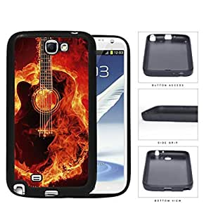 Acoustic Guitar Burning With Fire Flames Rubber Silicone TPU Cell Phone Case Samsung Galaxy Note 2 II N7100