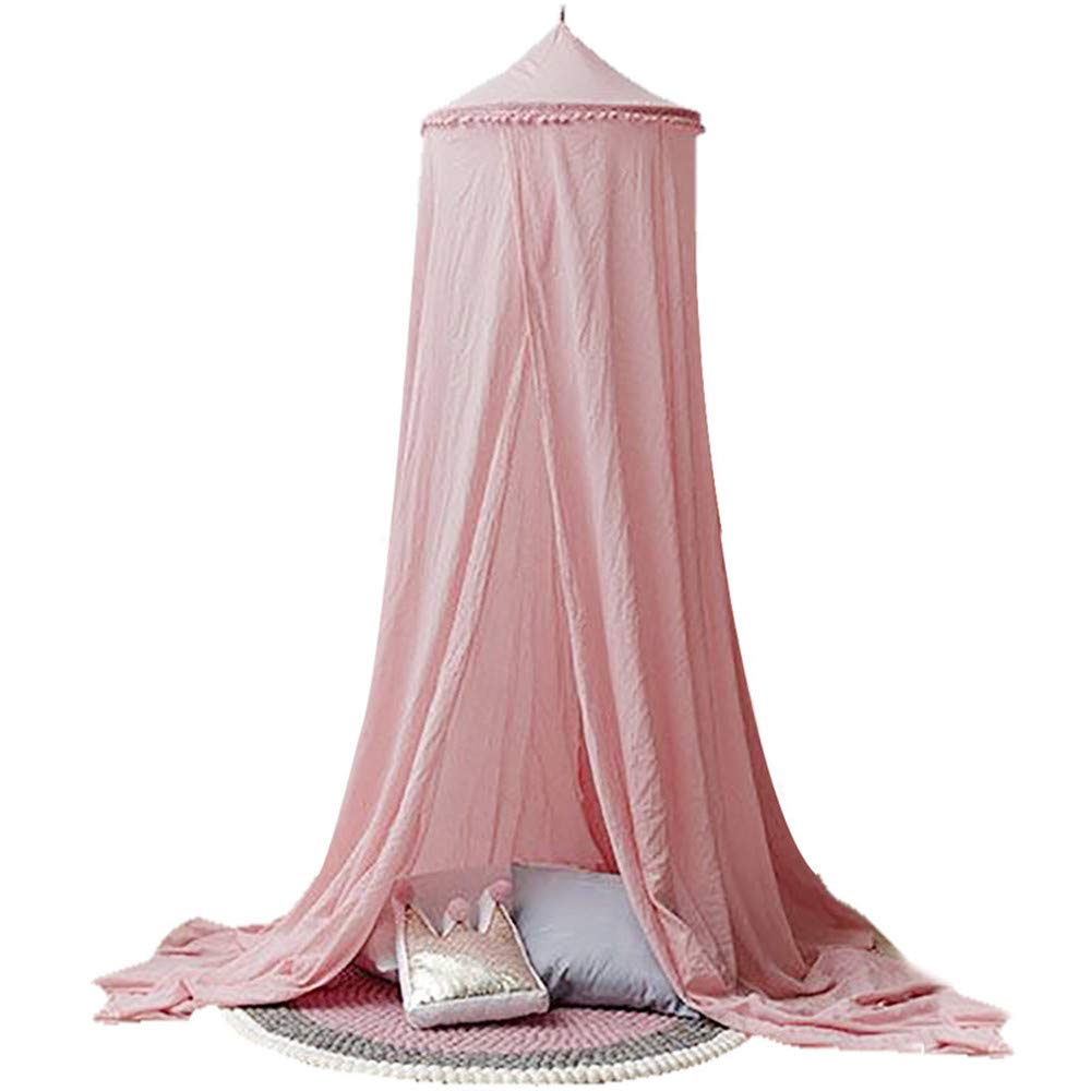 HHJJ Indoor Kids Play Teepee Tent Mosquito Net Canopy Yarn Bed Net Canopy Crib Netting Round Dome Canopies Bedding for Boy Girl Toddler,Pink