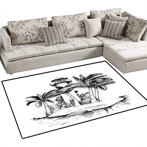Tropical Bath Mats for Floors Lighthouse on Island Surrounded with Palm Trees Exotic Landscape Sketchy Artwork Door Mat Indoors Bathroom Mats Non Slip 48