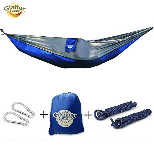 Tree Hammock With For Traveling, Hiking and Backpacking – Single Person Nylon Premium Lightweight – Great For The Ultimate Adventure With FREE Tree Ropes! - Blue