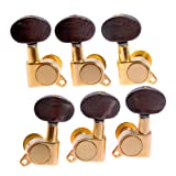 1set 3L3R K-801 Enclosed Gold Tuning Pegs Machine Head Tuners w/ Amber brown Plastic Buttons for Acoustic Guitar
