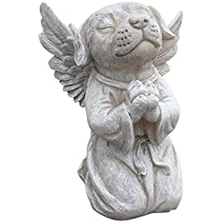 Dog Angel Memorial Statue   Garden Marker Pet Remembrance Stone   Praying  Dog Angel From Clovers
