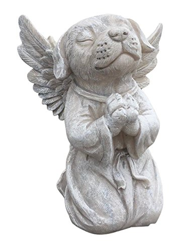 Clovers Garden Dog Angel Memorial Statue – Garden Marker Pet Remembrance Stone – Praying Dog Angel from