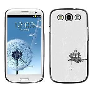 TopCaseStore / la caja del caucho duro de la cubierta de protección de la piel - Ship Anchor Art Sails Drawing Black White - Samsung Galaxy S3 I9300