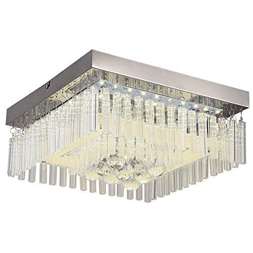 Horisun Crystal Chandelier Dimmable Lighting Flush Mount LED Ceiling Light Fixture Modern K9 Crystal Raindrop Pendant Lamp for Dining Room, Bathroom, Bedroom, Living Room, 5 Years Warranty