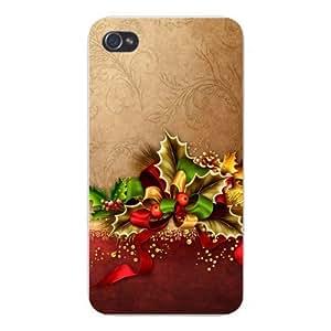 Apple Iphone Custom Case 5 5s Snap on - Christmas Holiday Decoration Bow Mistletoe