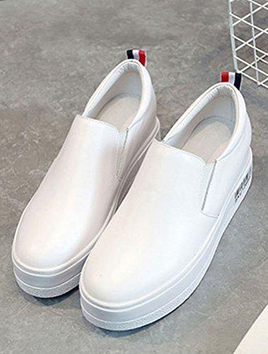 MatchLife Femmes Cuir Véritable Plateforme Ascenseur Compensées Chaussures Blanc iiqJVm