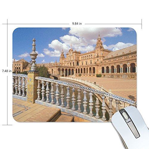 Personalized Mouse Pad Large Rectangle Gaming Mouse Pad Style Rubber Mousepad with Spain Plaza Seville in 9.84