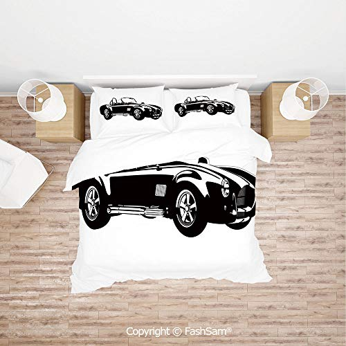 (FashSam Duvet Cover 4 Pcs Comforter Cover Set Silhouette Classic Sport Car Ac Cobra Roadster American Antique Engine Autosport for Boys Grils Kids(Single))