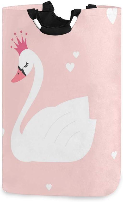 Lerous Cesta para la colada grande con cisne blanco plegable con asas, cesta de almacenamiento plegable para ropa sucia, juguetes para niños