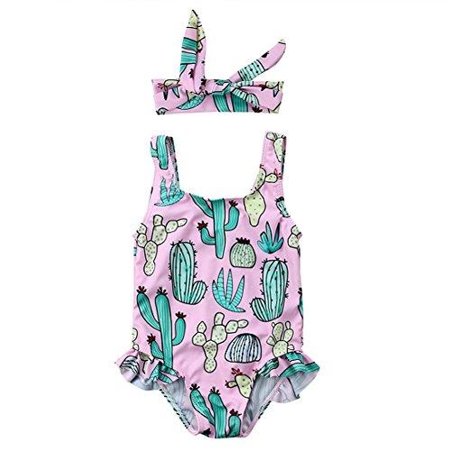 Ruffle Swimsuit One Infant Piece (Cenhope Infant Baby Girls One-Piece Swimsuit Toddler Girl Cactus Sleeveless Ruffles Swimwear Beachwear with Headband (Pink, 12-18 Months))