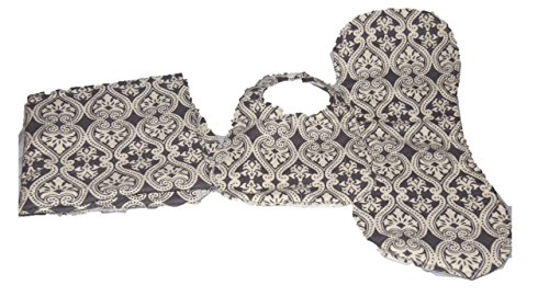 Grey and White Damask Bib and Burp Cloth and Blanket 30x30