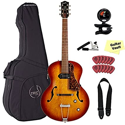 Godin 5ª Avenida Kingpin P90 marrón Burst jazz-style acústica guitarra eléctrica con caja de