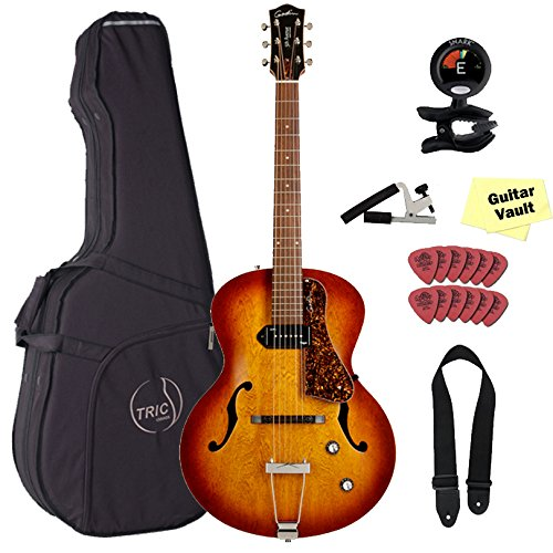 Godin 5th Avenue Kingpin P90 Cognac Burst Jazz-Style Acoustic Electric Guitar with TRIC Case & Accessory Pack