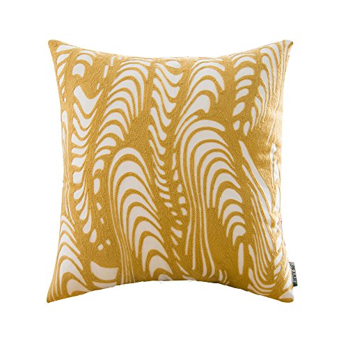 HWY 50 Yellow Pillows Decorative Throw Pillows Covers For Couch Sofa 18 x 18 inch, A Pc Cotton Embroidered Throw Pillow Cases For Bed, European Texture Cushion Covers (Contemporary Accent Pillows)