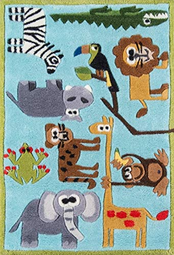 Momeni Rugs Lil Mo Whimsy Collection, Kids Themed Hand Carved Tufted Area Rug, 2 x 3 , Multicolor Jungle Animals on Blue
