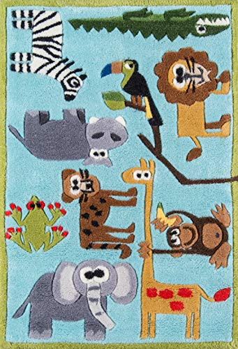 Momeni Rugs LMOJULMJ19BLU2030 Lil' Mo Whimsy Collection, Kids Themed Hand Carved...
