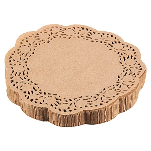 Lace Paper Doilies - 250-Pack Round Decorative Paper Placemats Bulk for Cakes, Desserts, Baked Treat Display, Ideal for Weddings, Formal Event Tableware Decoration - Brown, 9 Inches in Diameter ()