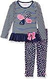 Nannette Little Girls' 2 Piece Playwear Long Sleeve Top and Legging Set, Navy Blue, 6