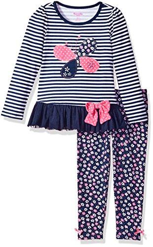 Nannette Little Girls' 2 Piece Playwear Long Sleeve Top and Legging Set, Navy Blue, 6 by Nannette (Image #1)