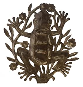 Le Primitif Galleries Haitian Recycled Steel Oil Drum Outdoor Decor, 14 by 14-Inch, Frog