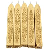 Classic Cord Wick Vintage Sealing Wax Stamp Stick Initial Letter Wedding Pack of 5pcs (Gold)