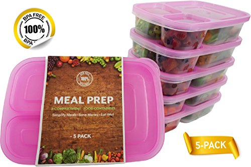 Price comparison product image Pink Meal Prep Containers,  BPA FREE Food Prep,  Disposable Sectioned Lunch Containers with Dividers,  5 Stackable Portion Control Bento Boxes