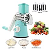 Freetor Swift Rotary Drum Grater Vegetable Cheese Cutter Slicer Shredder Grinder with 3 Interchanging Ultra Sharp Cylinders Stainless Steel Drums