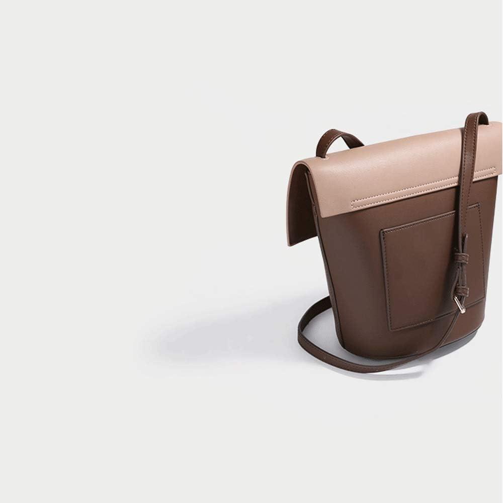 Color : Brown, Size : 18.513.522CM Womens Bag Crossbody Shoulder Scrub Leather Flip Bucket Bag Retro Fashion Bag