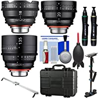 Rokinon Xeen 20mm T/1.9, 135mm T/2.2, 16mm T/2.6 Pro Cine Lens Bundle (for Video DSLR Canon EF) with Waterproof Hard Case + Camera Slider + Stabilizer + Kit