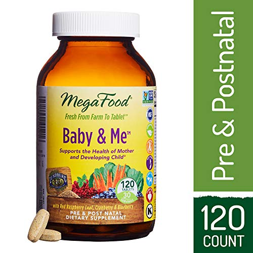 (MegaFood - Baby & Me, Prenatal and Postnatal Supplement to Support Healthy Pregnancy, Development, Bones, and Red Blood Cell Levels for Mother and Child, 120 Tablets (FFP))