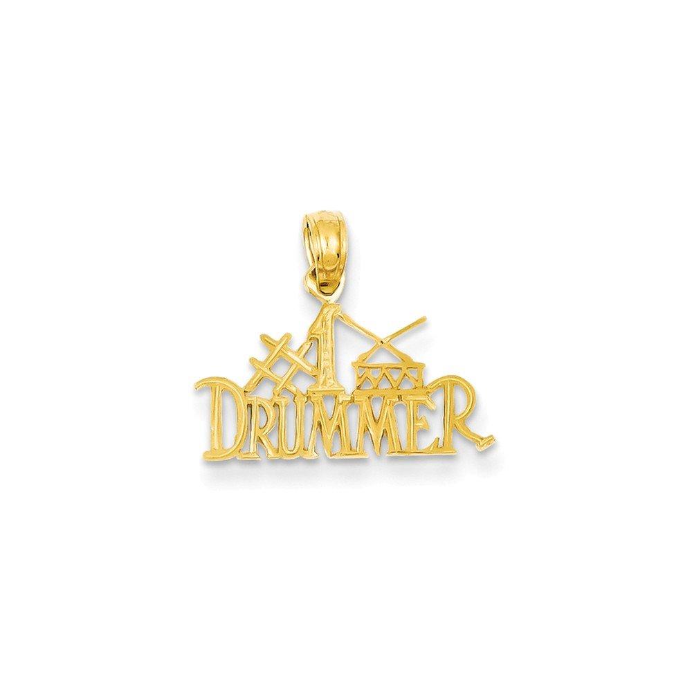 Jewel Tie 14K Yellow Gold #1 Drummer Pendant 0.63 in x 0.71 in
