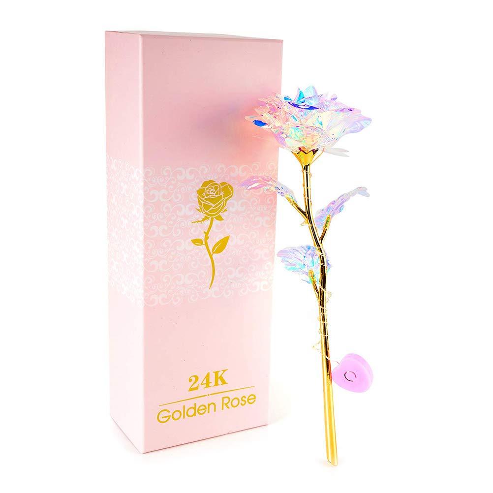 Naduew 24K Galaxy Rose Colorida Rosa Artificial D/ía de San Valent/ín Acci/ón de Gracias D/ía de la Madre Chica Cumplea/ños Regalo Hogar Jard/ín Decoraci/ón Artesan/ías