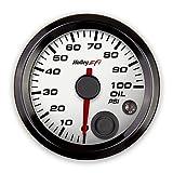 Holley 553-127W EFI Oil Pressure Gauge 2 1/16 in. Diameter 0-100 psi. CAN White Face Black Bezel EFI Oil Pressure Gauge