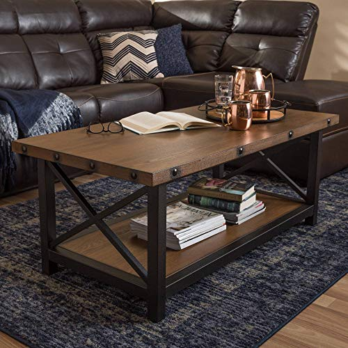 rown Accent Table, Farmhouse Style Indoor Coffee Table Industrial Style Rectangular Shaped Console Table Includes Hardware Storage Antique Black Textured Finished, MDF Metal ()