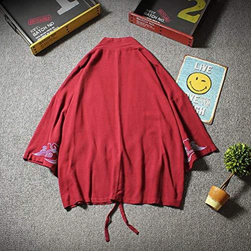 Maniche Mantello Di Aperto Corte Giacca Allentata Da 3 Ricamato Kimono A 4 Huixin Coulisse Winered Anteriore Haori Uomo Casual Coat Con Vento 0qFat4nA