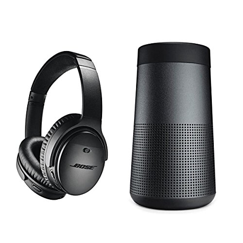 Bose QuietComfort 35 Wireless Headphones II with Microphone, Noise Cancelling, Black - With Bose SoundLink Revolve Bluetooth Speaker, Triple Black by Bose