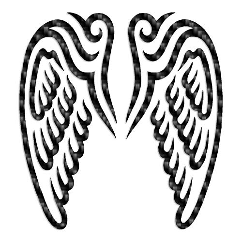 "Angel Wings Art - Vinyl Decal Sticker - 3.75"" x 4"" - Carbon Fiber from Southern Decalz"